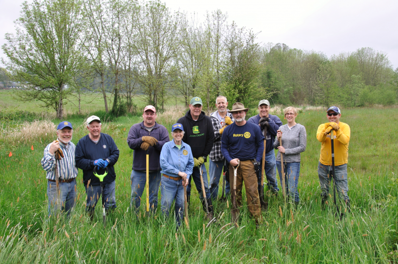 Rotary crew who planted trees for the Arbor Day challenge set forth by RI President to all clubs.