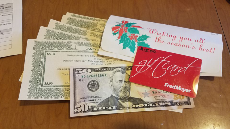 Some Rotary Bucks included in the gift.