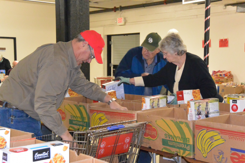 Food sorting for Food and Toy Drive in December