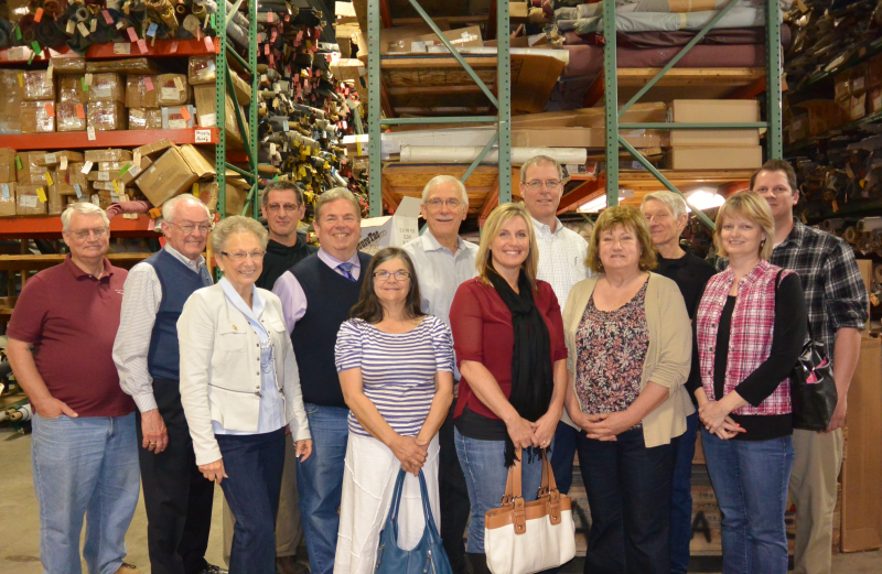 Canby Rotarians and friends touring SMS Auto Fabrics.