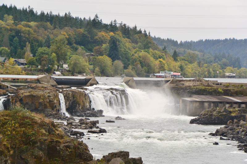 View of Willamette Falls, Oregon City from Blue Heron Mill
