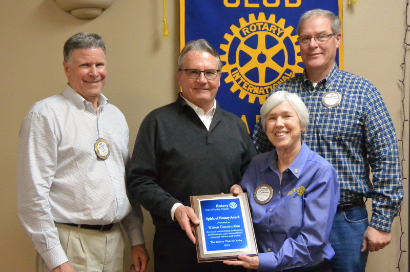 Wilson Construction presented Spirit of Rotary Award 2018